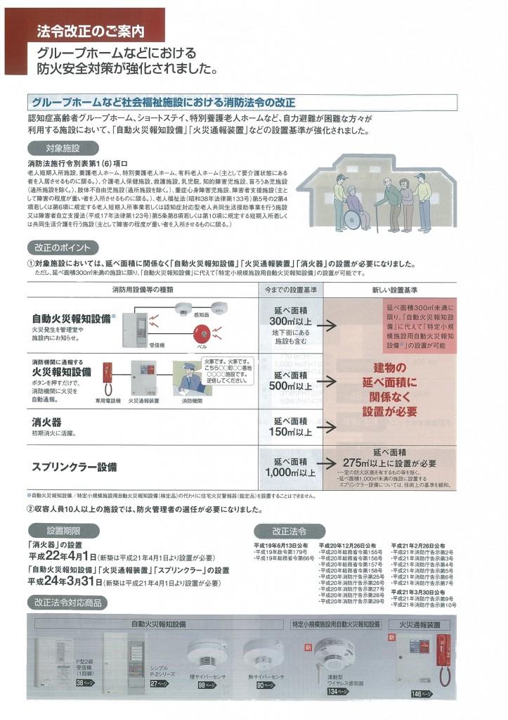 消防法法改正 グループホーム等における防火安全対策の強化